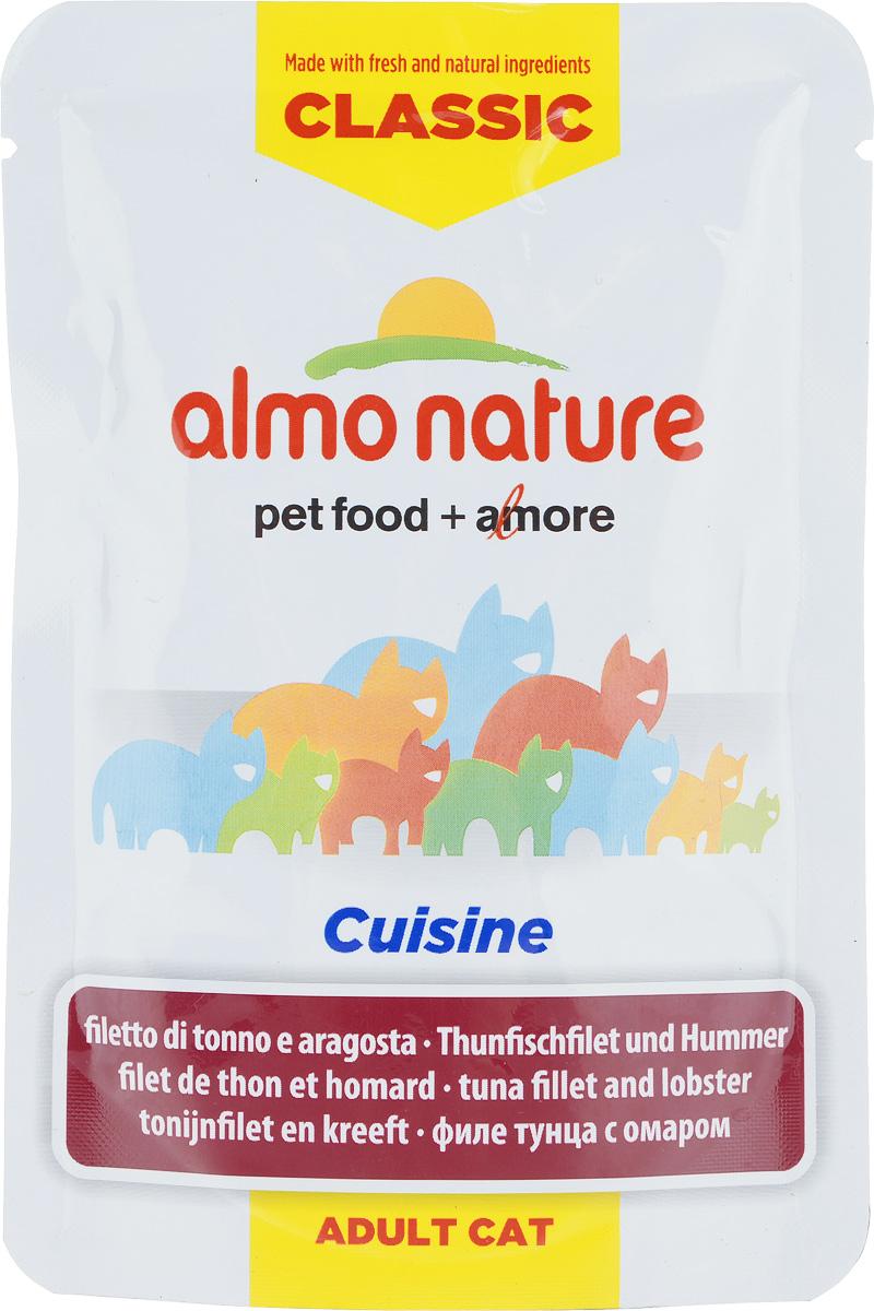 Консервы для взрослых кошек Almo Nature Classic Cuisine, филе тунца с омаром, 55 г консервы для кошек almo nature classic с курицей и тыквой 140 г