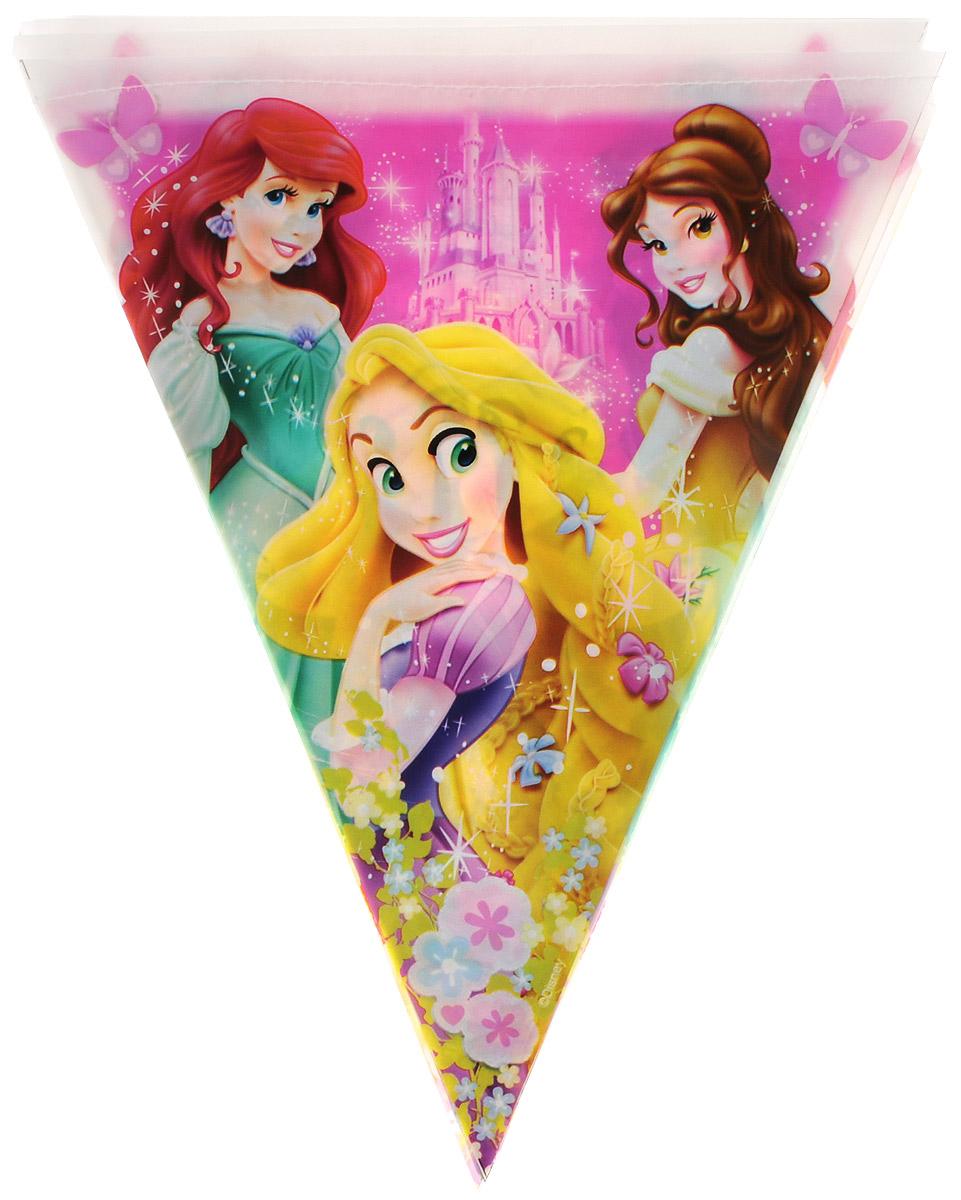 Веселая затея Гирлянда-вымпел Disney Принцессы disney гирлянда детская с блестящим дождиком с днем рождения феи