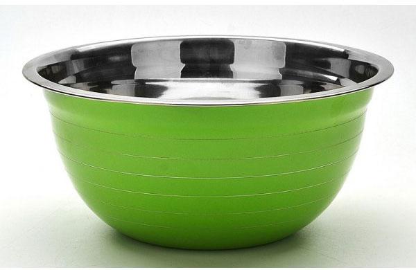 Миска Mayer & Boch, цвет: салатовый, стальной, диаметр 26 см22747_салатовыйКруглая миска Mayer & Boch изготовлена из высококачественной нержавеющей стали. Изделие очень функционально, оно пригодится на кухне для самых разнообразных нужд: в качестве салатника, миски, тарелки и многого другого.Диаметр (по верхнему краю): 26 см.