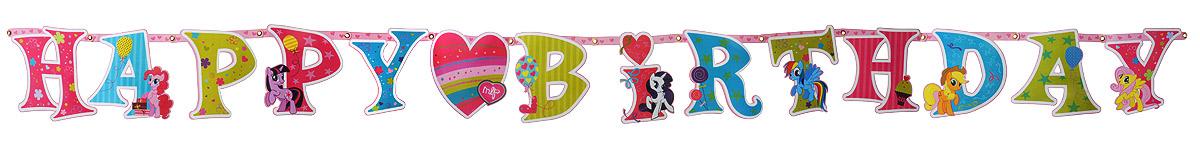 Веселая затея Гирлянда-буквы Happy Birthday My Little Pony amscan скатерть my little pony 120 см х 180 см