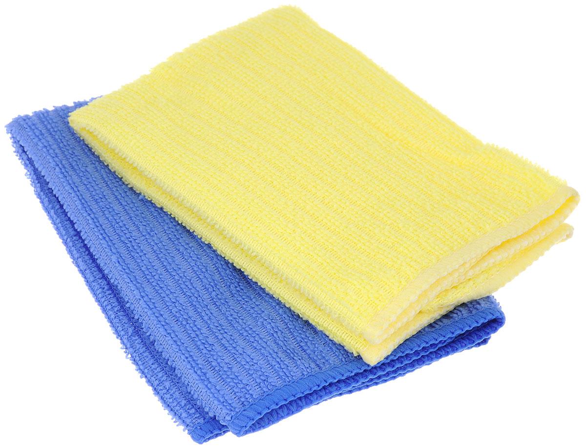 Салфетка из микрофибры Home Queen, цвет: синий, желтый, 30 х 30 см, 2 шт57048_синий, желтыйСалфетка Home Queen изготовлена из микрофибры. Это великолепная гипоаллергенная ткань, изготовленная из тончайших полимерных микроволокон. Салфетка из микрофибры может поглощать количество пыли и влаги, в 7 раз превышающее ее собственный вес. Многочисленные поры между микроволокнами, благодаря капиллярному эффекту, мгновенно впитывают воду, подобно губке. Благодаря мелким порам микроволокна, любые капельки, остающиеся на чистящей поверхности, очень быстро испаряются, и остается чистая дорожка без полос и разводов. В сухом виде при вытирании поверхности волокна микрофибры электризуются и притягивают к себе микробов, мельчайшие частицы пыли и грязи, удерживая их в своих микропорах.