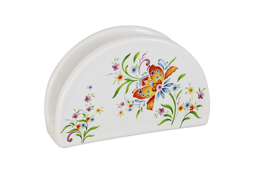 Салфетница Imari АквитанияIMF0080-DA2099ALСалфетница Imari Аквитания изготовлена из глазурованнойкерамики белого цвета и оформлена ярким цветочнымрисунком.Такая салфетница изящно украсит ваш кухонный стол.Можно мыть в посудомоечной машине.