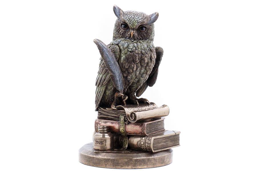 Статуэтка Veronese Мудрая сова, высота 22,5 смVWU75033A4ALДекоративная статуэтка Veronese Мудрая сова изготовлена из полистоуна бронзового цвета. Полистоун представляет собой специальную массу с полимерными связующими материалами, которые абсолютно не токсичны. Изделие выполнено в виде птицы, сидящей на стопке книг.Вы можете поставить статуэтку в любом месте, где она будет удачно смотреться и радовать глаз. Такая фигурка прекрасно дополнит интерьер офиса или дома. Veronese - это торговая марка, представляющая широкий ассортимент художественных изделий из полистоуна, выполненных по эскизам итальянских дизайнеров и художников.