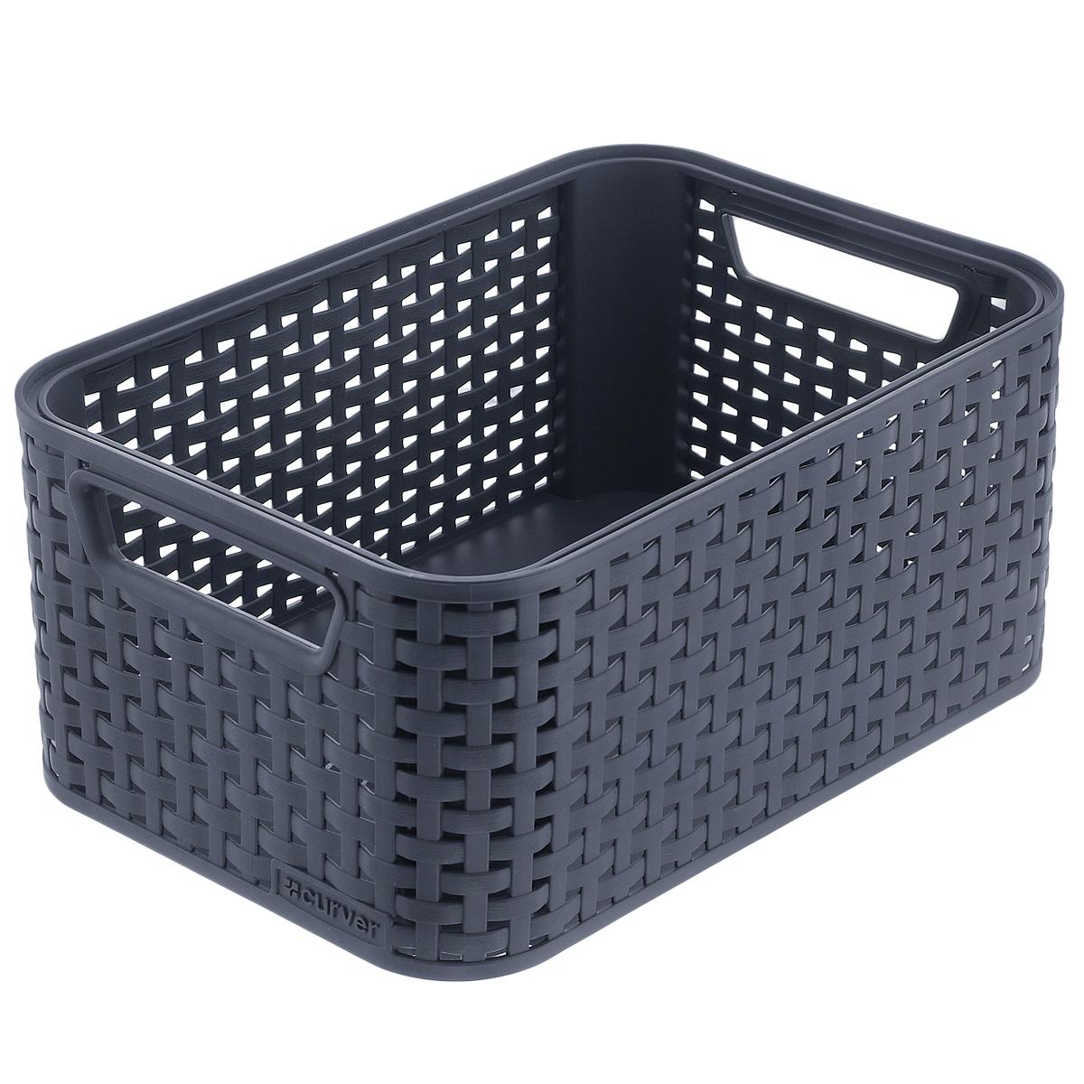 коробка для хранения curver usa flag 39 см х 29 23 см Корзинка универсальная Curver Style, цвет: темно-серый, 44 см х 33 см х 23 см