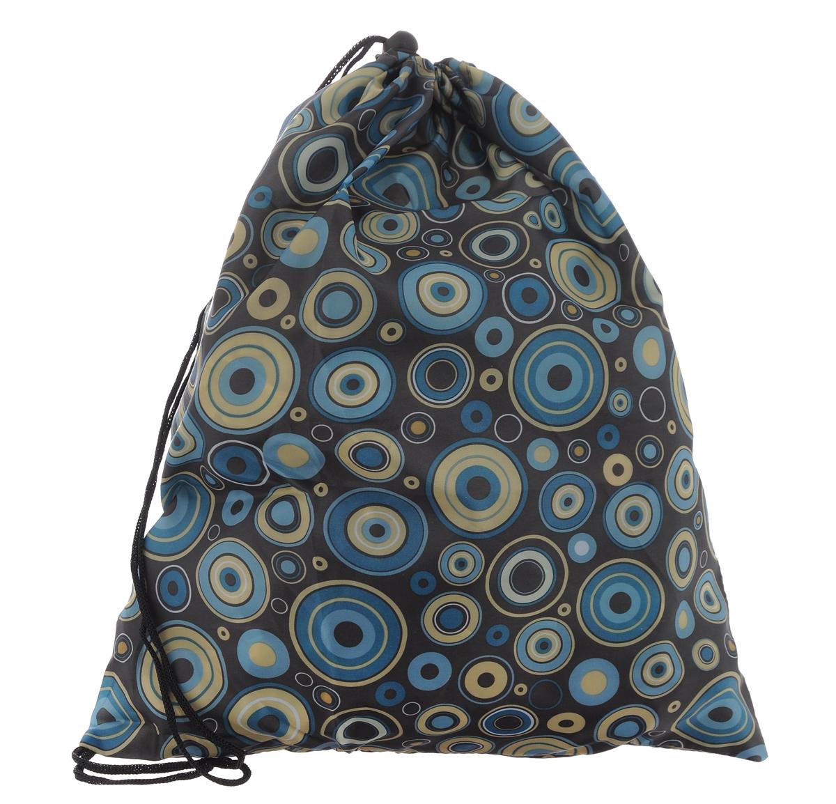 Eva Сумка для сменной обуви цвет хакиЕ25_хаки/кругиСумку для сменной обуви Eva удобно использовать как для хранения, так и для переноски сменной обуви. Она выполнена из прочного полиэстера и затягивается сверху текстильными шнурками. Плотный материал обеспечит надежность и долговечность сумки. Шнурки фиксируются в нижней части сумки, благодаря чему ее можно носить за спиной как рюкзак.