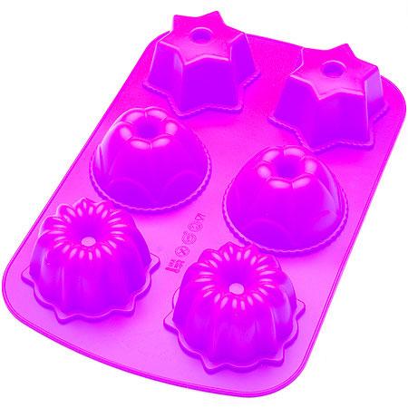 Форма для выпечки Mayer & Boch, силиконовая, цвет: фиолетовый, 6 ячеек. 2463624636_фиолетовыйФорма для выпечки Mayer & Boch изготовлена из высококачественного силикона. Стенки формы легко гнутся, что позволяет легко достать готовую выпечку и сохранить аккуратный внешний вид блюда. Форма имеет 6 разных по размеру ячеек в виде различных фигурок.Силикон - материал, который выдерживает температуру от -40°С до +230°С. Изделия из силикона очень удобны в использовании: пища в них не пригорает и не прилипает к стенкам, форма легко моется. Приготовленное блюдо можно очень просто вытащить, просто перевернув форму, при этом внешний вид блюда не нарушится. Изделие обладает эластичными свойствами: складывается без изломов, восстанавливает свою первоначальную форму. Порадуйте своих родных и близких любимой выпечкой в необычном исполнении. Подходит для приготовления в микроволновой печи и духовом шкафу при нагревании до +230°С; для замораживания до -40°.Средний размер ячейки: 8 см х 8 см х 4,5 см.