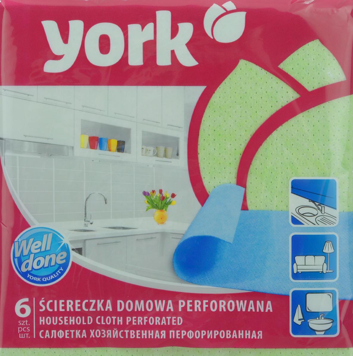 Салфетка перфорированная York, цвет: зеленый, 34 см х 35 см, 6 шт2004_зеленыйПерфорированная салфетка York предназначена для мытья, протирания и полировки. Салфетка выполнена из вискозы с добавлением полипропиленового волокна, отличается высокой прочностью. Благодаря перфорации хорошо поглощает влагу. Идеальна для ухода за столешницами на кухне. Может использоваться в сухом и влажном виде.
