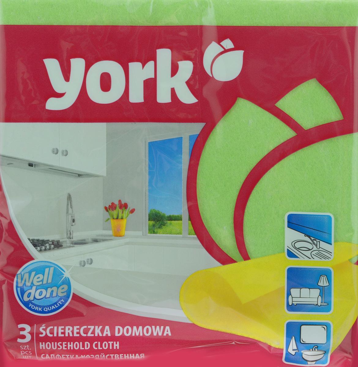Салфетка хозяйственная York, цвет: зеленый, 35 см х 35 см, 3 шт2001_зеленыйСалфетка York, изготовленная из полипропиленового волокна и вискозы, предназначена для очищения загрязнений на любых поверхностях. Изделие обладает высокой износоустойчивостью и рассчитано на многократное использование, легко моется в теплой воде с мягкими чистящими средствами. Салфетка не оставляет разводов и ворсинок, удаляет большинство жирных и маслянистых загрязнений без использования химических средств.