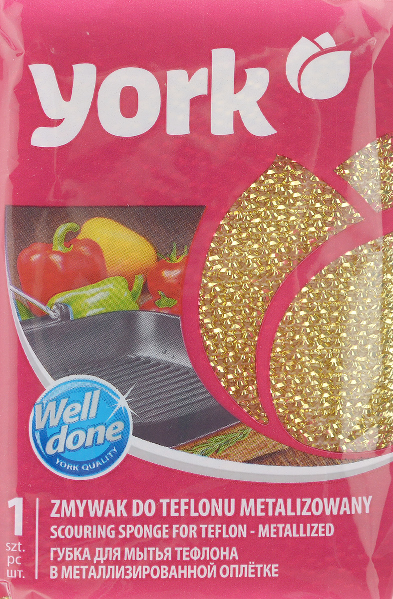 Губка для тефлона York Лиза, цвет: золотой3202_золотойГубка для мытья посуды York Лиза изготовлена из поролона в чехле из полипропиленовой металлизированной нити. Предназначена для мытья посуды и очистки сильно загрязненных кухонных поверхностей. Удобна в применении. Позволяет экономить моющее средство, благодаря структуре поролона, который дает много пены при использовании.Подходит для мытья тефлона.Размер губки: 11 х 7 х 3 см.