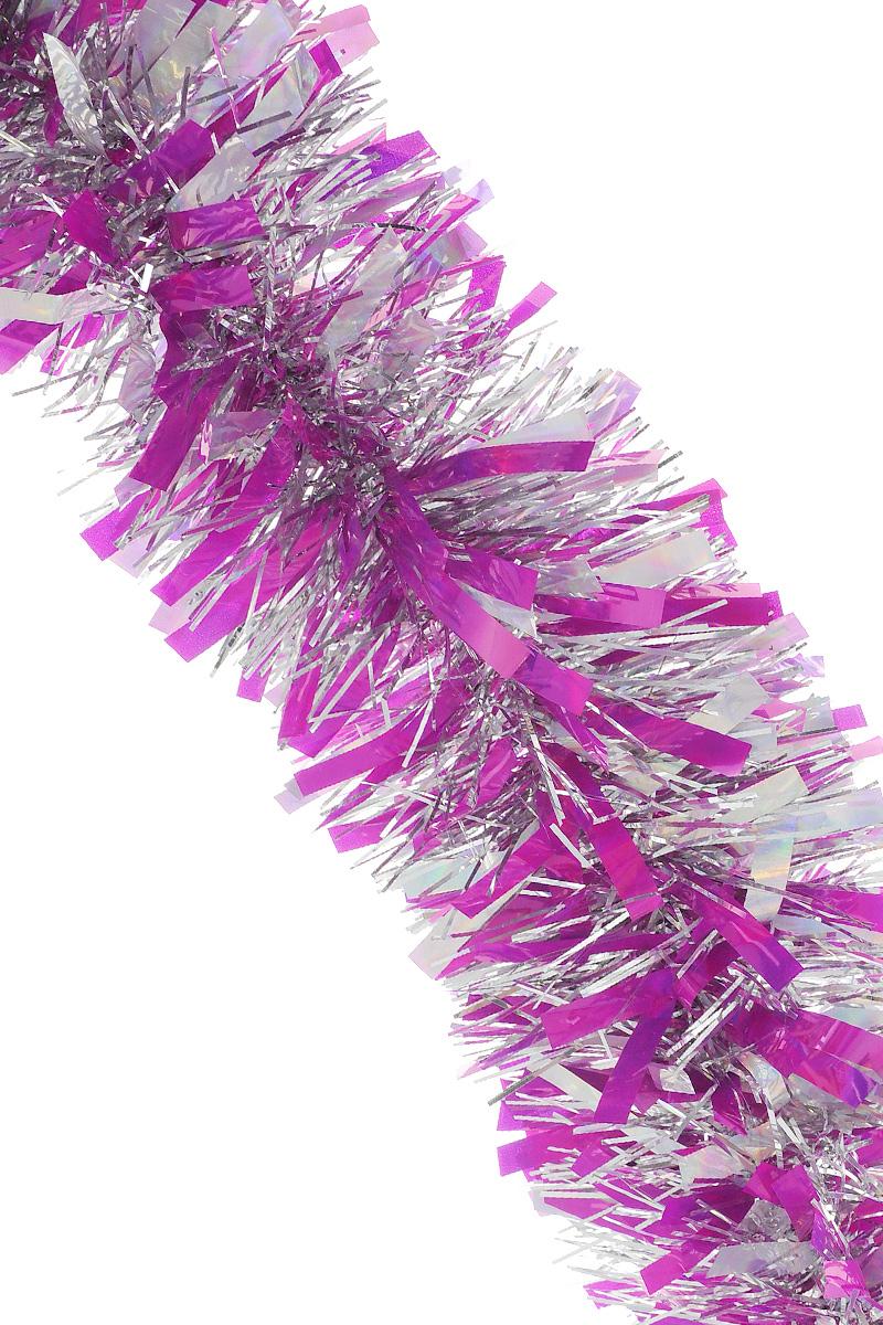 """Мишура новогодняя """"Sima-land"""", цвет: сиреневый, серебристый, диаметр 9,6 см, длина 200 см. 706596"""