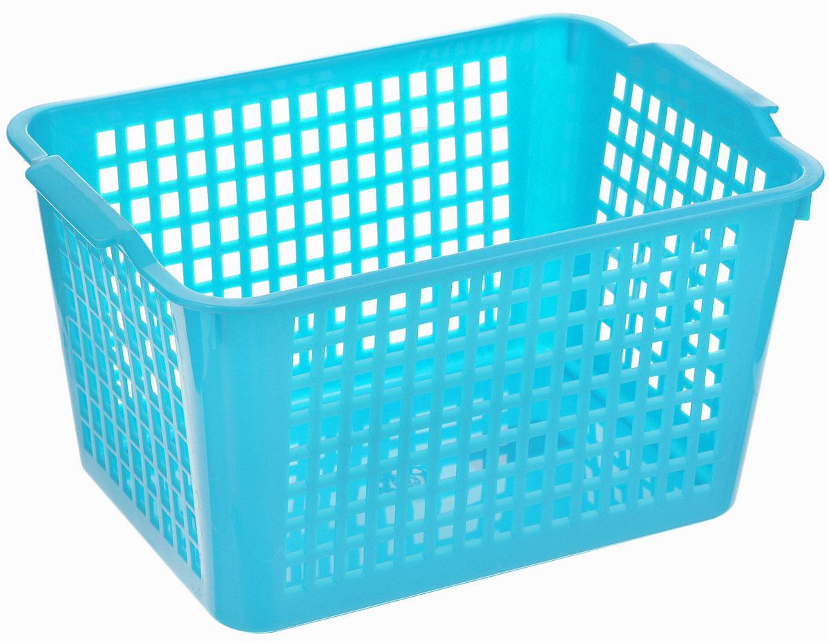 Корзина универсальная Econova, цвет: голубой, 29 х 18,5 х 12,5 смС12245_голубойУниверсальная корзинка Econova изготовлена извысококачественного пластика сперфорированными стенками и сплошным дном.Такая корзинка непременно пригодится в быту, вней можно хранить кухонные принадлежности,специи, аксессуары для ванной и другие бытовыепредметы, диски и канцелярию.