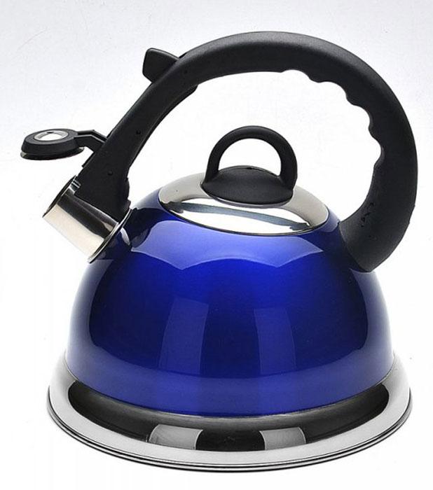 Чайник Mayer & Boch, со свистком, цвет: синий, 2,8 л. 2267522675_синийЧайник со свистком Mayer & Boch изготовлен из высококачественной нержавеющей стали. Капсульное дно обеспечивает равномерный и быстрый нагрев, поэтому вода закипает гораздо быстрее, чем в обычных чайниках. Носик чайника оснащен откидным свистком, звуковой сигнал которого подскажет, когда закипит вода. Свисток открывается нажатием кнопки на ручке, сделанной из пластика.Чайник Mayer & Boch - качественное исполнение и стильное решение для вашей кухни. Подходит для всех типов плит, включая индукционные. Можно мыть в посудомоечной машине.Высота чайника (без учета ручки и крышки): 13,5 см.Высота чайника (с учетом ручки и крышки): 24 см.Диаметр чайника (по верхнему краю): 10,5 см. Диаметр основания: 22 см. Диаметр индукционного дна: 16 см.
