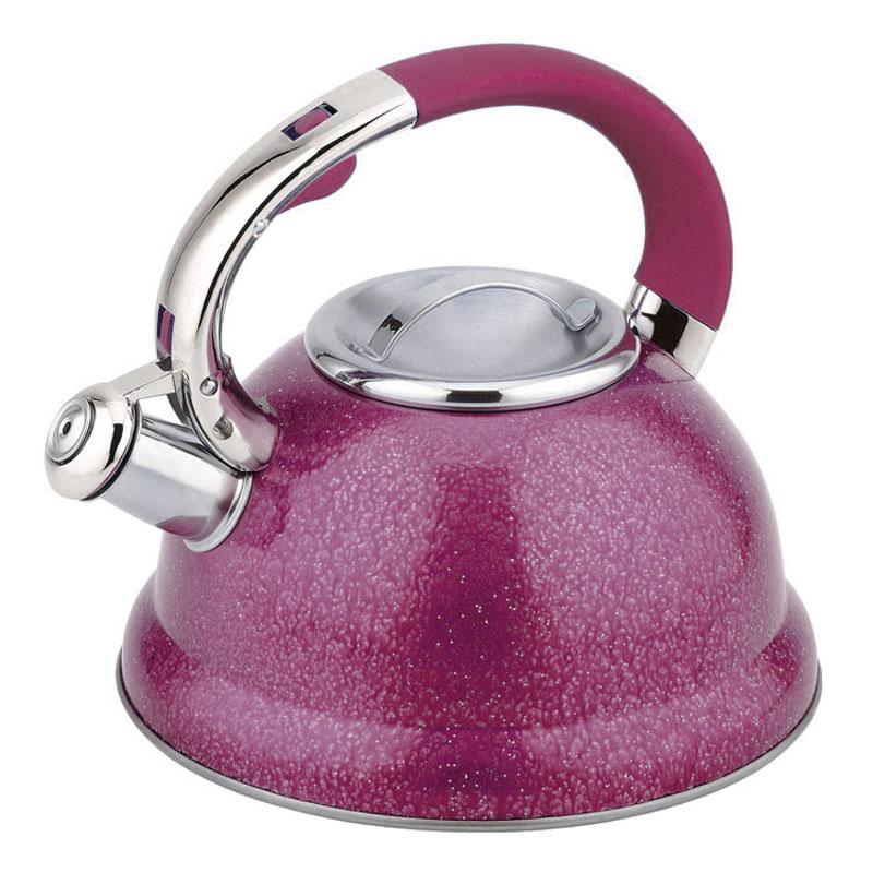 Чайник Mayer & Boch, со свистком, цвет: малиново-розовый, 2,5 л23209_красныйЧайник со свистком Mayer & Boch изготовлен из высококачественной нержавеющей стали, что обеспечивает долговечность использования. Носик чайника оснащен откидным свистком, звуковой сигнал которого подскажет, когда закипит вода. Свисток открывается нажатием кнопки на ручке. Эргономичная нейлоновая ручка имеет покрытие soft-touch. Чайник Mayer & Boch - качественное исполнение и стильное решение для вашей кухни. Подходит для всех типов плит, включая индукционные. Можно мыть в посудомоечной машине.Высота чайника (без учета ручки и крышки): 12,5 см.Высота чайника (с учетом ручки и крышки): 23 см.Диаметр чайника (по верхнему краю): 10 см.Диаметр основания: 22 см.Диаметр индукционного дна: 18 см.