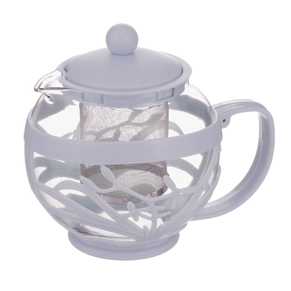Чайник заварочный Menu Мелисса, с фильтром, цвет: прозрачный, серый, 750 млMLS-75_серЧайник Menu Мелисса изготовлен из прочного стекла и пластика. Он прекрасно подойдет для заваривания чая и травяных напитков. Классический стиль и оптимальный объем делают его удобным и оригинальным аксессуаром. Изделие имеет удлиненный металлический фильтр, который обеспечивает высокое качество фильтрации напитка и позволяет заварить чай даже при небольшом уровне воды. Ручка чайника не нагревается и обеспечивает безопасность использования. Нельзя мыть в посудомоечной машине. Диаметр чайника (по верхнему краю): 8 см.Высота чайника (без учета крышки): 11 см.Размер фильтра: 6 х 6 х 7,2 см.