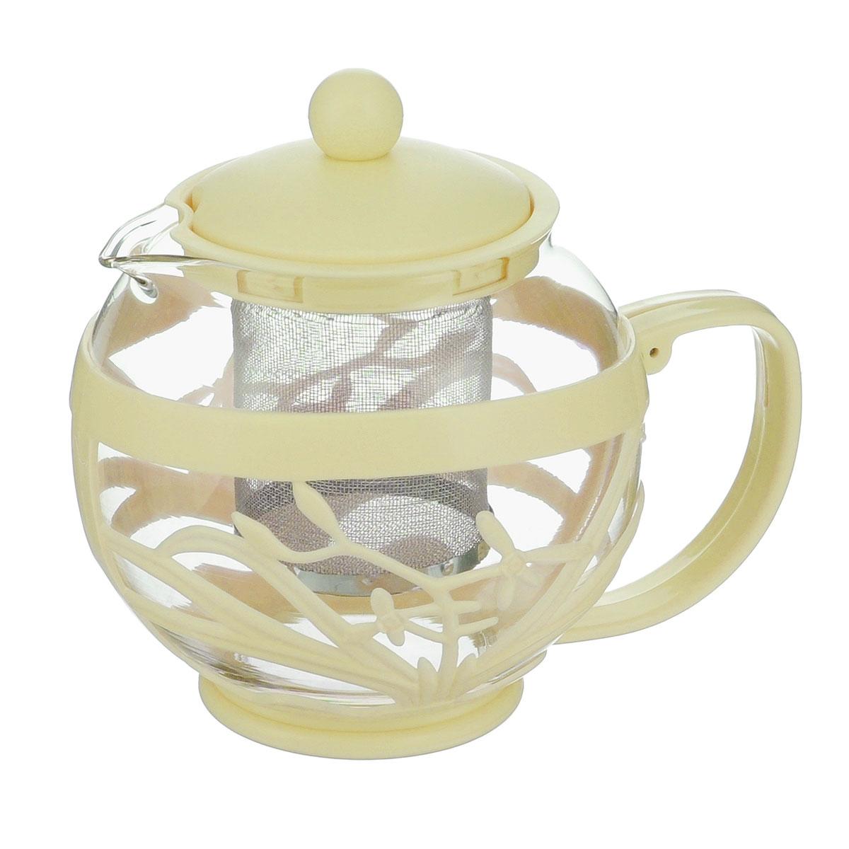 Чайник заварочный Menu Мелисса, с фильтром, цвет: прозрачный, кремовый, 750 млMLS-75_кремовыйЧайник Menu Мелисса изготовлен из прочного стекла и пластика. Он прекрасно подойдет для заваривания чая и травяных напитков. Классический стиль и оптимальный объем делают его удобным и оригинальным аксессуаром. Изделие имеет удлиненный металлический фильтр, который обеспечивает высокое качество фильтрации напитка и позволяет заварить чай даже при небольшом уровне воды. Ручка чайника не нагревается и обеспечивает безопасность использования. Нельзя мыть в посудомоечной машине. Диаметр чайника (по верхнему краю): 8 см.Высота чайника (без учета крышки): 11 см.Размер фильтра: 6 х 6 х 7,2 см.