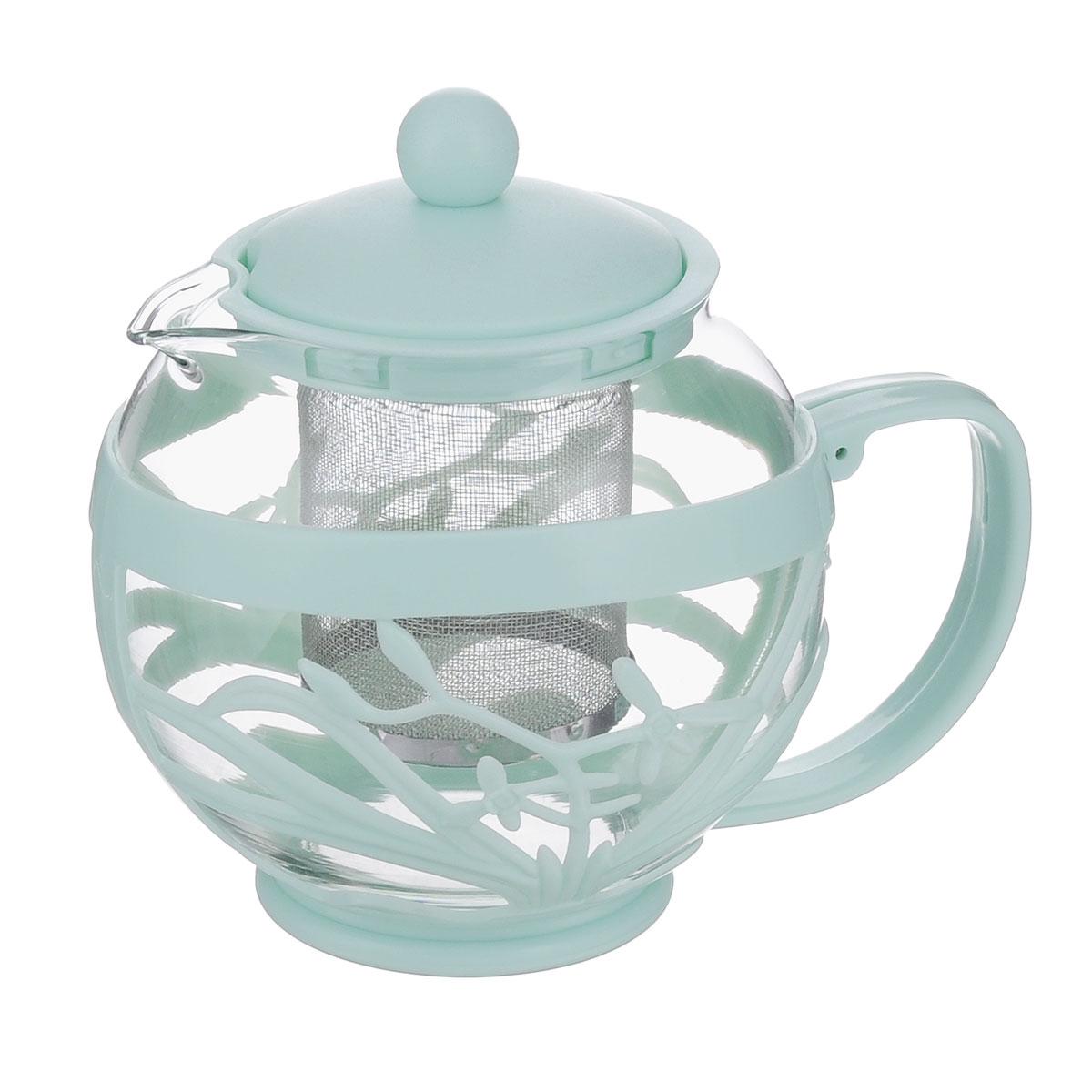 Чайник заварочный Menu Мелисса, с фильтром, цвет: прозрачный, мятный, 750 млMLS-75_мятныйЧайник Menu Мелисса изготовлен из прочного стекла и пластика. Он прекрасно подойдет для заваривания чая и травяных напитков. Классический стиль и оптимальный объем делают его удобным и оригинальным аксессуаром. Изделие имеет удлиненный металлический фильтр, который обеспечивает высокое качество фильтрации напитка и позволяет заварить чай даже при небольшом уровне воды. Ручка чайника не нагревается и обеспечивает безопасность использования. Нельзя мыть в посудомоечной машине. Диаметр чайника (по верхнему краю): 8 см.Высота чайника (без учета крышки): 11 см.Размер фильтра: 6 х 6 х 7,2 см.