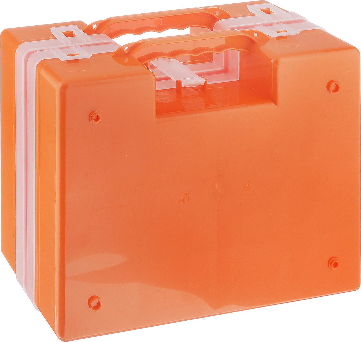 Органайзер Idea, двойной, цвет: оранжевый, 27,2 х 21,7 х 10 смМ 2957_оранжевыйОрганайзер Idea изготовлен из высококачественного прочного пластика и предназначен для хранения и переноски инструментов. Состоит из 2-х органайзеров, прикрепленных друг к другу. Внутри каждого - 14 прямоугольных секций разной формы.Органайзеры надежно закрываются при помощи пластмассовых защелок. Крышки выполнены из прозрачного пластика, что позволяет видеть содержимое.Благодаря специальным крепежам оба органайзера надежно соединены друг с другом.Размеры секций:24 секции Размер: 6,6 см х 5,3 см х 4,7 см;4 секции Размер: 8,1 см х 3,3 см х 4,7 см.