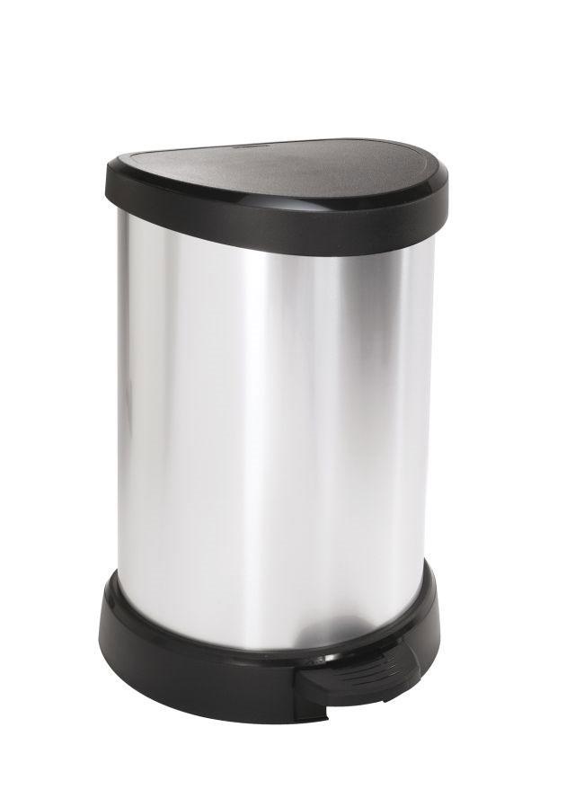 Контейнер для мусора Curver, с педалью, цвет: серебристый металлик, черный, 20 л пакеты для мусора curver 130л 10шт 1115293