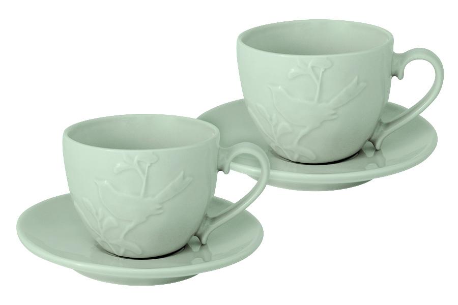 Чайный набор SantaFe Птицы, цвет: мятный, 4 предметаSL-S15015/66gr-ALЧайный набор SantaFe Птицы состоит из двух чашек и двух блюдец, выполненных из высококачественной керамики. Изделия оформлены изящным изображением птиц и имеют изысканный внешний вид. Такой набор эффектно украсит стол к чаепитию и порадует вас функциональность и ярким дизайном.Объем чашки: 250 мл.
