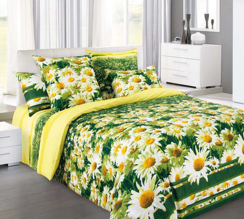 Комплект белья Белиссимо Простор 1, евро 1, наволочки 70х70, цвет: зеленый, желтый, белый4100БВеликолепное постельное белье Белиссимо Простор 1 выполнено из высококачественной бязи (100% хлопок) и украшено в виде ромашкового поля. Комплект состоит из пододеяльника, простыни и двух наволочек. Бязь - хлопчатобумажная плотная ткань полотняного переплетения. Отличается прочностью и стойкостью к многочисленным стиркам. Бязь считается одной из наиболее подходящих тканей, для производства постельного белья и пользуется в России большим спросом.