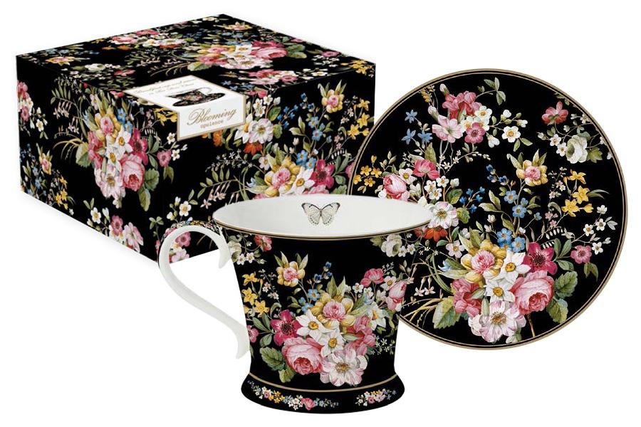 Чайная пара Nuova R2S Цветочный карнавал, цвет: черный, розовый, зеленый, 2 предмета набор кофейный nuova r2s цветочный карнавал цвет черный 4 предмета r2s1353 blob al