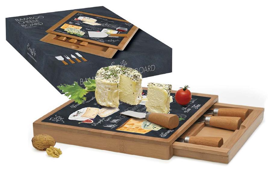 Набор для резки сыра Nuova R2S Мир сыров, 5 предметов. R2S891/WOCH-ALR2S891/WOCH-ALНабор для резки сыра Nuova R2S Мир сыров предназначен для нарезки сыра твердых и мягких сортов. В комплект входят разделочная доска, три ножа и вилка. Доска имеет специальный отсек для хранения ножей. Изделия выполнены из бамбука и нержавеющей стали.Такой набор удобен в применении и компактен. Он послужит прекрасным подарком для родных и близких. Не рекомендуется мыть в посудомоечной машине.Продукция компании Nuova R2S отличается современным дизайном, и легкостью в эксплуатации. Компания работает в тесном сотрудничестве с лучшими итальянскими художниками и дизайнерами.Важным преимуществом этой фабрики, является оригинальная подарочная упаковка. Продукция компании Nuova R2S не только современный подарок и украшение для вашего дома, но и всегда неисчерпаемое количество идей на вашей кухне.