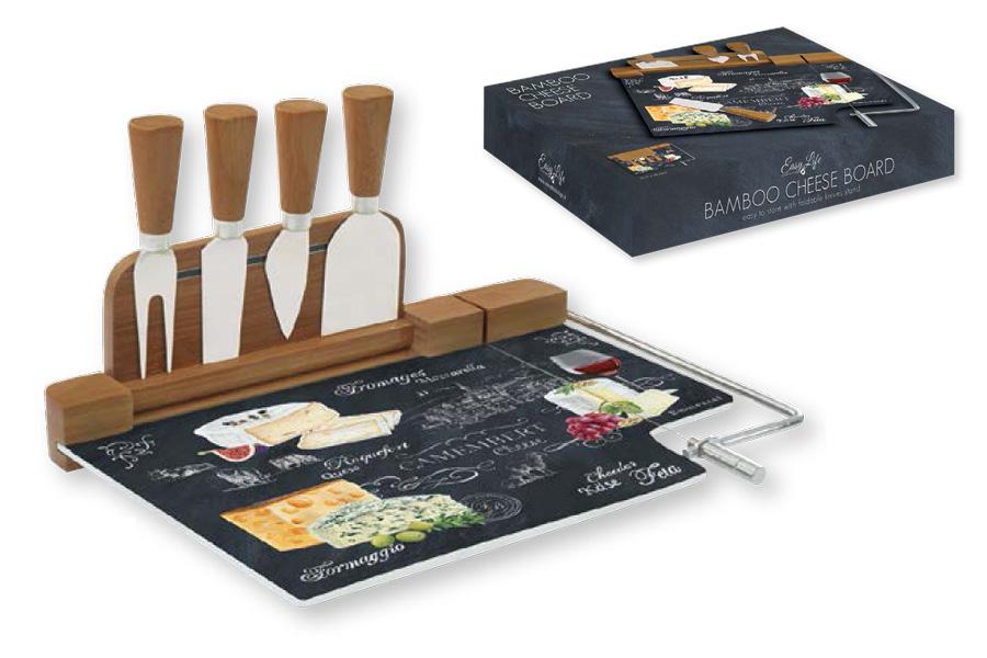 """Набор для резки сыра Nuova R2S """"Мир сыров"""" предназначен для нарезки сыра твердых и мягких сортов. В комплект входят разделочная доска с магнитным бортиком, три ножа и вилка. Изделия выполнены из высококачественного стекла, бамбука и нержавеющей стали.  Такой набор удобен в применении и компактен. Он послужит прекрасным подарком для родных и близких. Не рекомендуется мыть в посудомоечной машине.  Размер доски: 19 х 19 х 0,2 см.   Продукция компании Nuova R2S отличается современным дизайном, и легкостью в эксплуатации. Компания работает в тесном сотрудничестве с лучшими итальянскими художниками и дизайнерами.  Важным преимуществом этой фабрики, является оригинальная подарочная упаковка. Продукция компании Nuova R2S не только современный подарок и украшение для вашего дома, но и всегда неисчерпаемое количество идей на вашей кухне."""
