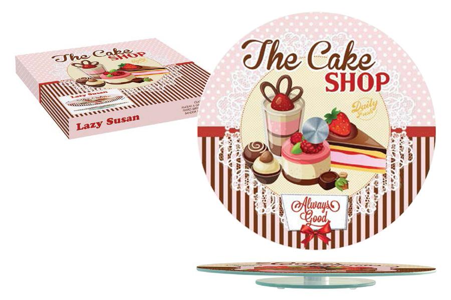"""Блюдо для торта Nuova R2S """"Подарки"""" выполнено из стекла. Посуда обладает гладкой поверхностью и не впитывает запахи, ее легко и просто мыть. Изящный дизайн и красочность оформления придутся по вкусу и ценителям классики, и тем, кто предпочитает современный стиль.Не рекомендуется мыть в посудомоечной машине и использовать в микроволновой печи. Диаметр блюда: 32 см."""