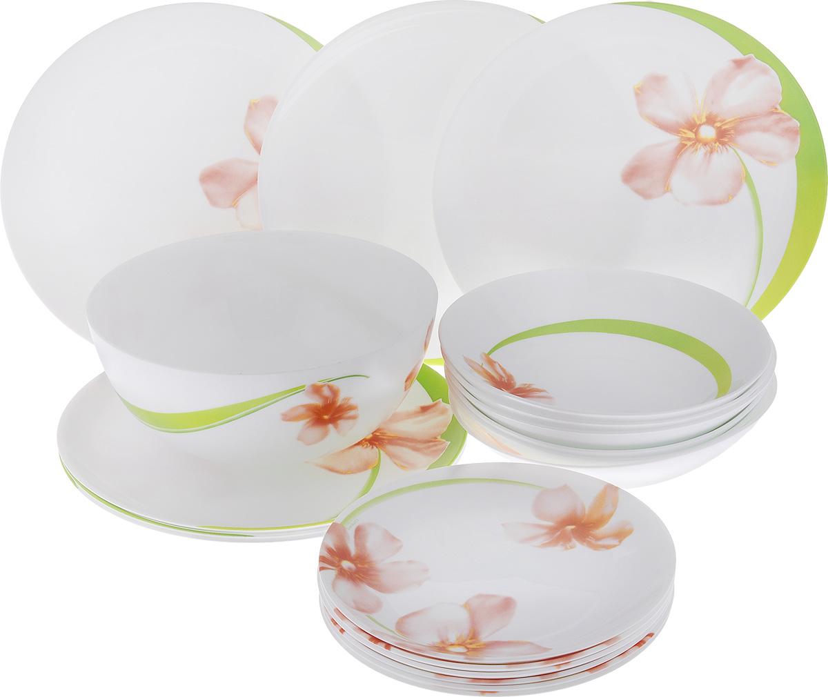 Набор столовой посуды Luminarc Sweet Impression, 19 предметовE4946Набор Luminarc Sweet Impression состоит из 6 суповых тарелок, 6 обеденныхтарелок, 6 десертных тарелок и салатника. Изделия выполнены изударопрочного стекла, оформлены ярким рисунком цветов и имеют классическую круглую форму. Посуда отличается прочностью, гигиеничностью и долгим сроком службы, она устойчива к появлению царапин и резким перепадам температур. Такой набор прекрасно подойдет как для повседневного использования, так идля праздников или особенных случаев. Набор столовой посуды Luminarc Sweet Impression - это не только яркий иполезный подарок для родных и близких, а также великолепное дизайнерскоерешение для вашей кухни или столовой. Можно мыть в посудомоечной машине и использовать в микроволновой печи.Диаметр суповой тарелки (по верхнему краю): 20 см. Высота суповой тарелки: 4 см.Диаметр обеденной тарелки (по верхнему краю): 25 см. Высота обеденной тарелки: 1,7 см. Диаметр десертной тарелки (по верхнему краю): 19 см. Высота десертной тарелки: 2 см. Диаметр салатника (по верхнему краю): 21 см. Высота салатника: 9 см.