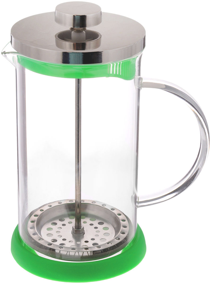 Френч-пресс Apollo Olimpique, цвет: прозрачный, зеленый, 600 млOLM-600Френч-пресс Apollo Olimpique, изготовленный их нержавеющей стали и жаропрочного стекла, прекрасно подойдет для заваривания кофе, чая, травяных настоев и даже какао. Основными достоинствами френч-пресса являются:- возможность регулировать время заваривания, что оказывает влияние на вкус напитка и его крепость,- возможность комбинировать напиток с различными наполнителями (специи, травы). Френч-пресс имеет металлический сетчатый фильтр с загнутыми краями, который обеспечивает высокое качество фильтрации напитка. Ручка из пищевого пластика не нагревается и безопасна в использовании. Яркая подставка из силикона препятствует скольжению чайника. Эстетичный и функциональный френч-пресс Apollo Olimpique будет оригинально смотреться в любом интерьере. Нельзя мыть в посудомоечной машине. Высота френч-пресса (с учетом крышки): 18 см. Высота стенки колбы: 15,5 см.