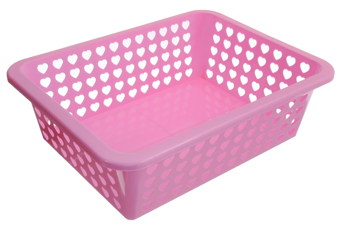Корзина Альтернатива Вдохновение, цвет: светло-розовый, 39,5 х 29,7 х 12 см587074_светло-розовыйКорзина Альтернатива Вдохновение выполнена из пластика и оформлена перфорацией в видесердечек. Изделие имеет сплошное дно и жесткую кромку. Корзина предназначена для хранениямелочей в ванной, на кухне, на даче или в гараже. Позволяет хранить мелкие вещи, исключаявозможность их потери.
