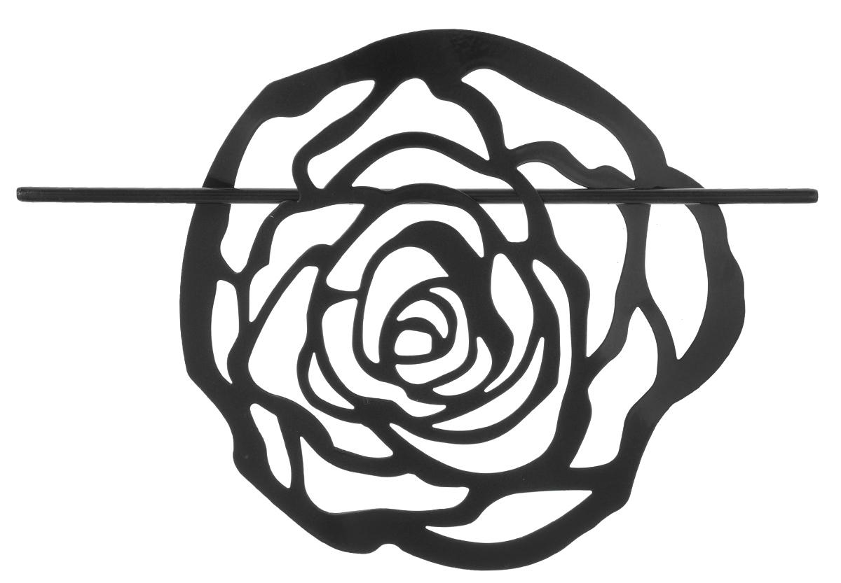Заколка для штор Мир Мануфактуры, цвет: черный697020_4 черныйЗаколка Мир Мануфактуры, выполненная извысококачественного металла, предназначена дляфиксации штор или для формирования декоративных складокна ткани. С ее помощью можно зафиксироватьшторы или скрепить их, придать им требуемоеположение, сделать симметричные складки.Заколка для штор является универсальнымизделием, которое превосходно подойдет длялюбых видов штор. Заколка придаст шторамвосхитительный, стильный внешний вид и добавитуют в интерьер помещения.Размер декоративного элемента: 16,5 см х 16,2 см.Длина палочки: 23 см.