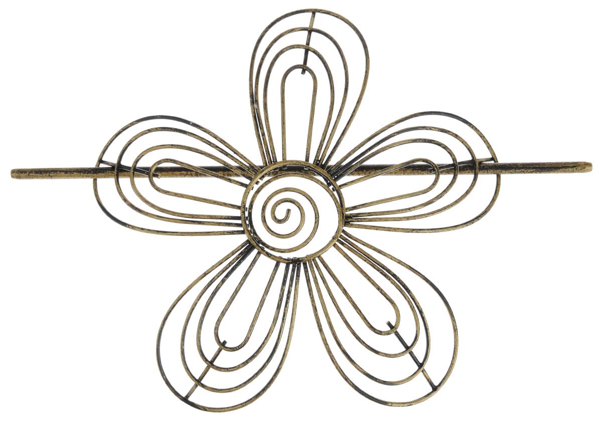 Заколка для штор Мир Мануфактуры, цвет: черный, бронзовый697018_4 черный/бронзаЗаколка для штор Мир Мануфактуры выполнена из металла в виде цветка.Заколка - это основной вид фурнитуры в декоре штор, сочетающий в себе не только декоративную функцию, но и практическую - регулировать поток света. Заколки для штор способны украсить любую комнату.Размер декоративной части: 16 см х 16,3 см.Длина палочки: 23 см.