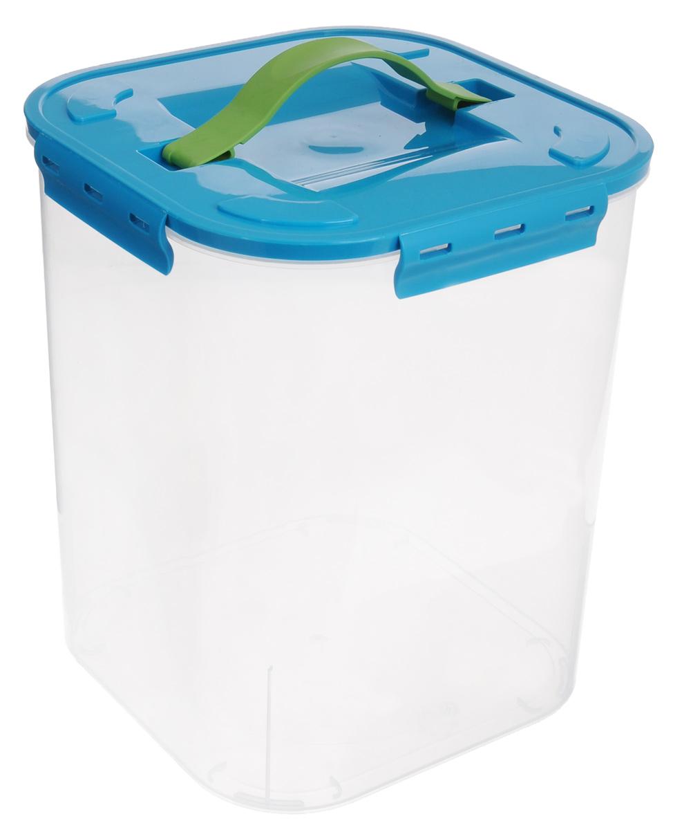 Контейнер для хранения Idea, цвет: бирюзовый, прозрачный, 10 лМ 2827_бирюзовыйКонтейнер для хранения Idea выполнен из прозрачного пластика. Контейнер идеально подойдет для хранения пищевых продуктов, а также любых мелких бытовых предметов: канцелярии, принадлежностей для шитья и многого другого. Контейнер плотно закрывается цветной крышкой с 4 защелками. Для удобства переноски сверху имеется ручка, выполненная из термоэластопласта. Контейнер Idea очень вместителен, он пригодится в любом хозяйстве.