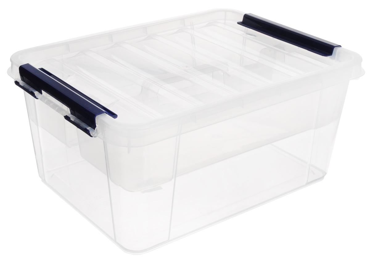 Ящик Полимербыт Профи, с вкладышем, цвет: прозрачный, синий, 15 л ящик балконный santino 60 х 19 х 15 см
