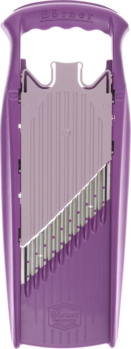 Овощерезка Borner Prima. Арт-декор, цвет: сиреневый3580404Овощерезка Borner Prima. Арт-декор изготовлена из высококачественного пищевого ABS-пластика. Лезвия выполнены из нержавеющей стали. Терка нарезает овощи 3 разными видами: - Вафелька (редис, огурец, картофель, свекла), - Волнистая черепица (огурец, помидор, перец, лук, морковь, цуккини, картофель, сыр), - Спиралька (картофель, морковь, свекла, тыква, редис, капуста). Овощерезка имеет 3 положения вставки. Чтобы изменить вид нарезки, просто переведите вставку в другое положение. Положение вставки 3 для защиты лезвий и безопасного хранения. Теперь даже самый простой салат или бутерброд можно сделать шедевром с помощью этой овощерезки. Два движения - и неповторимые удивительные украшения придадут утонченность и изысканность вашему блюду. Два движения - и перед вами уникальный фитнес-салат для похудения.
