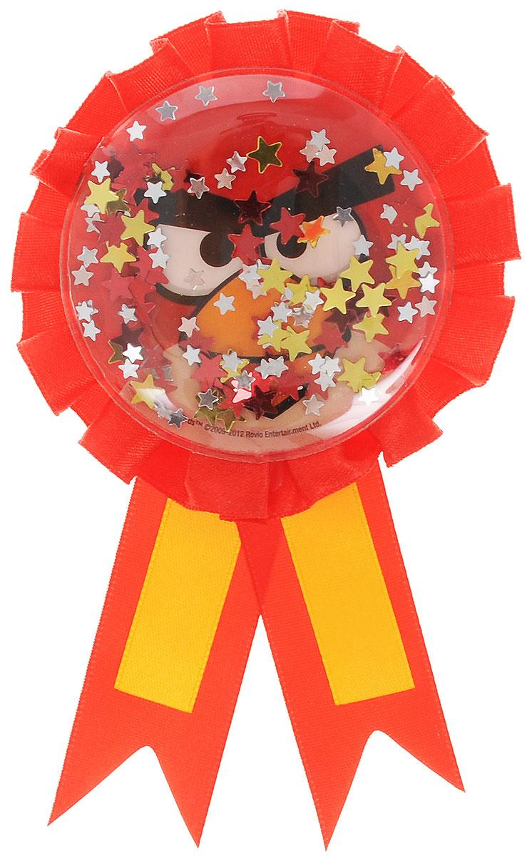 """Нарядный значок """"Angry Birds"""" станет отличной наградой победителю соревнований и игр на детском празднике. Значок выполнен из пластика и оформлен контрастными атласными лентами. Значок украшен изображением Красной птицы из знаменитой игры и наполнен блестящими конфетти.  Значок надежно и легко крепится на одежду при помощи безопасной булавки. Наградной значок станет неотъемлемым атрибутом любых детских утренников, спортивных соревнований и дня рождения."""