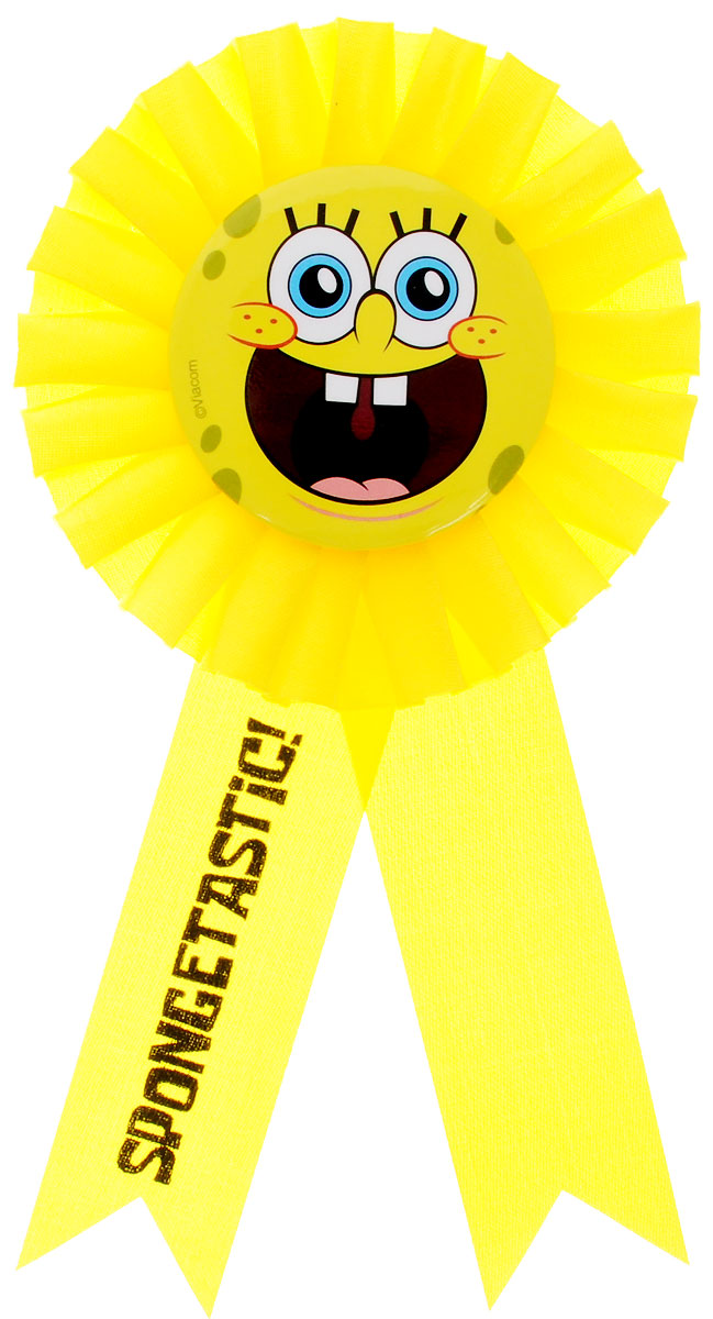 """Нарядный значок """"Губка Боб"""" станет отличной наградой победителю соревнований и игр на детском празднике. Значок выполнен из пластика и оформлен контрастными атласными лентами. Значок украшен изображением улыбающейся рожицы Губки Боба - персонажа одноименного мультфильма.  Значок надежно и легко крепится на одежду при помощи безопасной булавки. Наградной значок станет неотъемлемым атрибутом любых детских утренников, спортивных соревнований и дня рождения."""