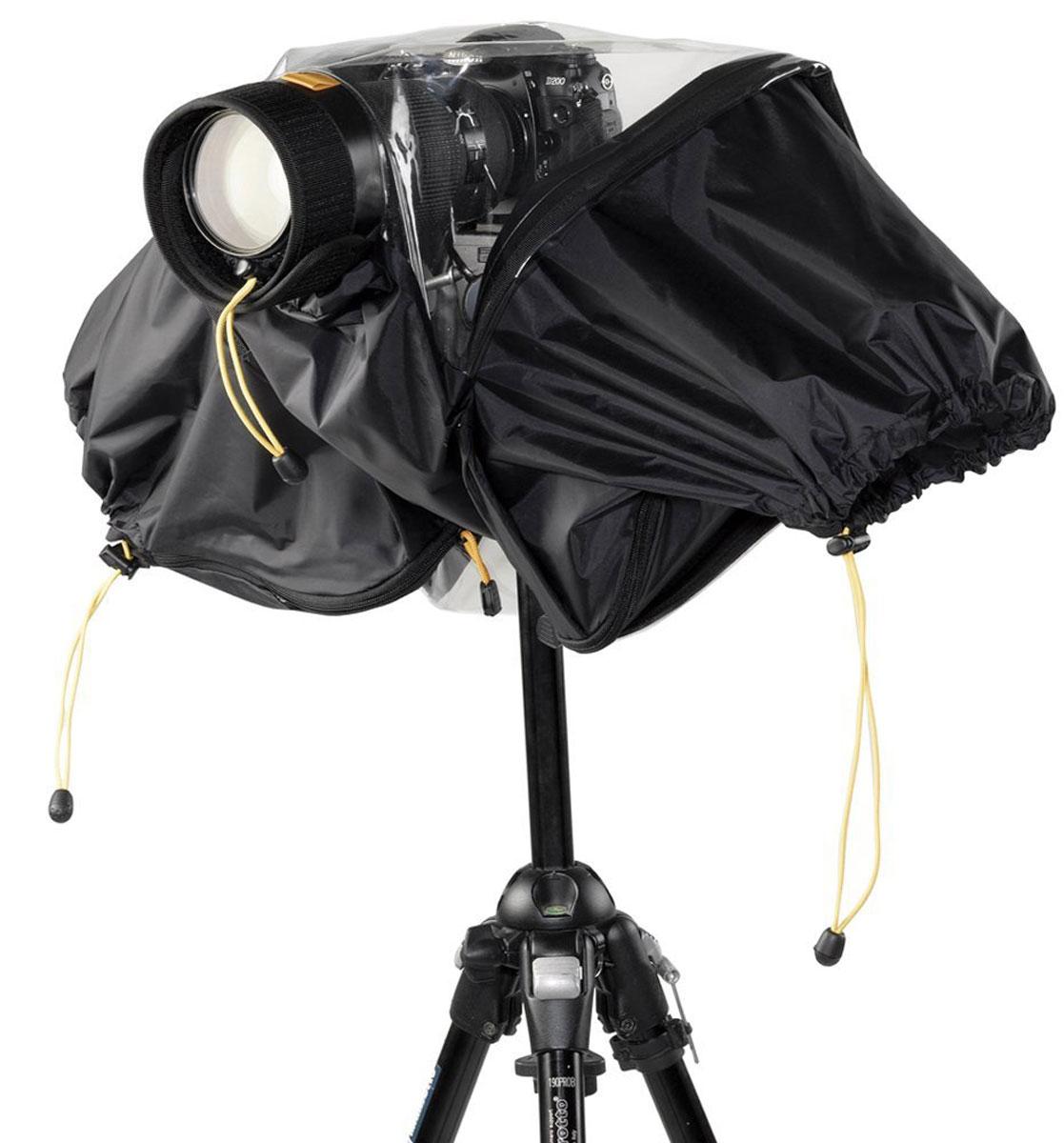 Kata E-705 Всепогодный чехол7290100284896Всепогодный чехол Kata E-705 служит для защиты профессиональной цифровой зеркальной камеры с объективом 70 / 200 мм и установленной на нее вспышкой, позволяя вам продолжать съемку даже в суровых погодных условиях. Размещенная по всей длине чехла застежка позволяет быстро устанавливать и защищать камеру на треноге, а также обеспечивает оперативный доступ к управлению оборудованием. Регулируемая жесткая бленда подходит для разных диаметров объективов.