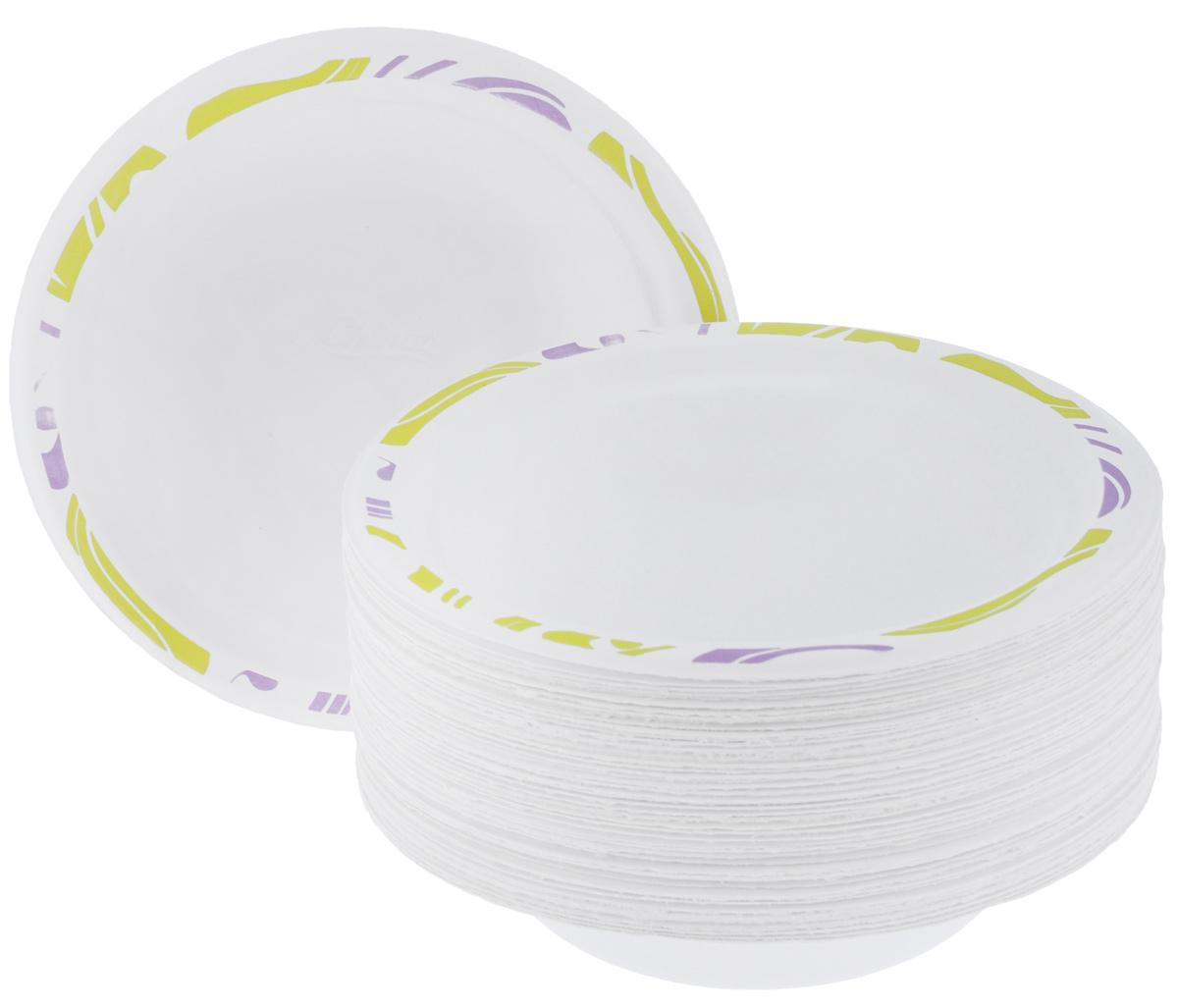 """Набор Chinet """"Flavour"""" состоит из 50 круглых тарелок, выполненных из плотной бумаги и предназначенных для одноразового использования. Изделия декорированы оригинальным узором. Одноразовые тарелки будут незаменимы при поездках на природу, пикниках и других мероприятиях. Они не займут много места, легки и самое главное - после использования их не надо мыть.Диаметр тарелки: 18 см.Высота тарелки: 1,5 см."""