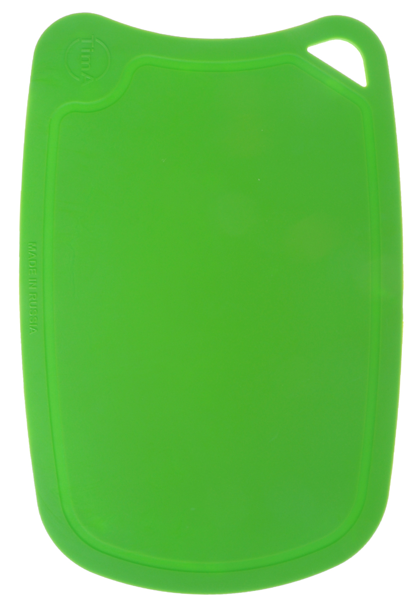 """Гибкая разделочная доска """"TimA"""", изготовленная из высококачественного полиуретана, займет достойное место среди аксессуаров на вашей кухне. Благодаря гибкости, с доски удобно высыпать нарезанные продукты. Она не тупит металлические и керамические ножи. Не впитывает влагу и легко моется. Обладает исключительной прочностью и износостойкостью. Доска плотно прилегает к любой поверхности стола, не скользит. По краю доски проходит желоб, который предохраняет от растекания жидкости. Не вступает в химическую реакцию с продуктами, не выделяет вредных веществ. Предотвращает размножение болезнетворных микроорганизмов на поверхности доски. Доска """"TimA"""" прекрасно подойдет для нарезки любых продуктов."""