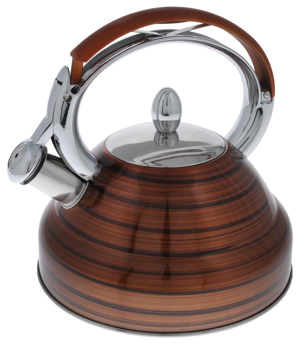 Чайник Mayer & Boch, со свистком, цвет: коричневый, 2,7 л. 2320523205_коричневыйЧайник Mayer & Boch выполнен из высококачественной нержавеющей стали, что делаетего весьма гигиеничным и устойчивым к износу при длительном использовании. Носик чайникаоснащен насадкой-свистком, что позволит вам контролировать процесс подогрева иликипяченияводы. Фиксированная ручка, изготовленная из нейлона и цинка, дает дополнительное удобство при наливаниинапитка.Поверхность чайника гладкая, что облегчает уход за ним. Эстетичный и функциональный, с эксклюзивным дизайном, чайник будет оригинальносмотретьсяв любом интерьере.Подходит для всех типов плит, включая индукционные. Можно мыть в посудомоечной машине.Высота чайника (без учета ручки и крышки): 11,5 см.Высота чайника (с учетом ручки и крышки): 24 см.Диаметр чайника (по верхнему краю): 10 см.