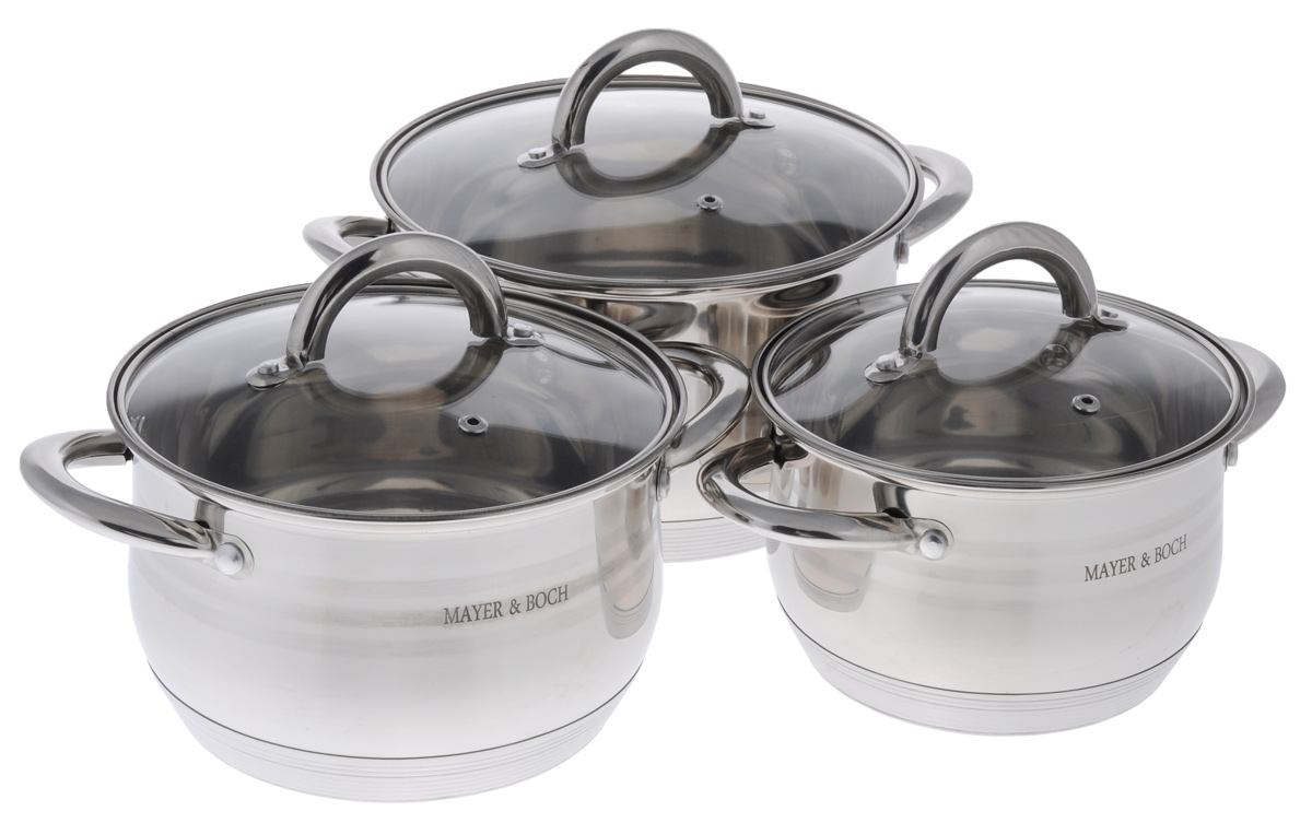 Набор посуды Mayer & Boch, 6 предметов. 2403924039Набор посуды Mayer & Boch состоит из трех кастрюль с крышками. Изделия выполнены из высококачественной нержавеющей стали 18/10 с зеркальной полировкой, которая обеспечивает быстрый подогрев пищи и поддержание тепла. Литые ручки из нержавеющей стали для удобства эксплуатации. В комплекте предусмотрены крышки, выполненные из жаропрочного стекла. Крышки позволяют наблюдать за приготовлением пищи без потери тепла, они плотно прилегают к краям посуды, сохраняя аромат блюд. Этот набор кастрюль предназначен для здорового и экологичного приготовления пищи. Приготовление пищи с небольшим количеством воды позволит продуктам сохранить витамины и минералы. Кастрюли идеальны для приготовления диетических блюд. Можно использовать на всех типах плит, включая индукционные. Можно мыть в посудомоечной машине. Объем кастрюль: 2 л, 2,8 л, 3,8 л. Диаметр кастрюль: 16 см, 18 см, 20 см. Высота стенок кастрюль: 10 см, 11 см, 12 см. Ширина кастрюль (с учетом ручек): 24 см, 26 см, 28 см. Диаметр дна кастрюль: 13 см, 15 см, 17 см. Толщина стенки: 0,5 мм. Толщина дна: 3 мм.