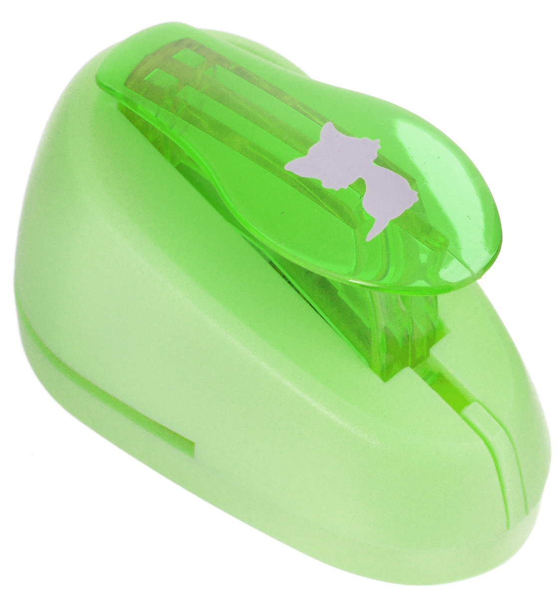 Дырокол фигурный Hobbyboom Котенок, №368, цвет: зеленый, 1,8 смCD-99S-368_зеленыйФигурный дырокол Hobbyboom Котенок, изготовленный из пластика и металла, используется в скрапбукинге для создания оригинальных открыток, а также оформления подарков, в бумажном творчестве. Рисунок прорези указан на ручке дырокола.Вырезанный элемент также можно использовать для украшения.Предназначен для бумаги определенной плотности - 80-200 г/м2. При применении на бумаге большей плотности или на картоне, дырокол быстро затупится.Размер готовой фигурки: 1,5 см х 1,3 см.