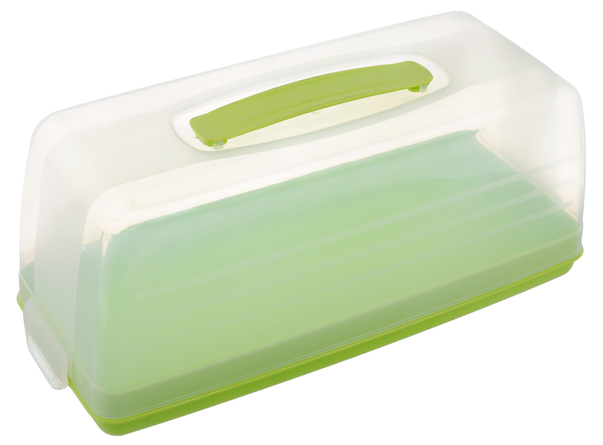 """Емкость для торта """"Curver"""" изготовлена из  высококачественного пищевого пластика.  Изделие представляет собой прямоугольный  поднос и прозрачную крышку, надежно  закрывающуюся на 2 защелки. Крышка убережет  выпечку от насекомых, заветривания, влаги и  других воздействий  внешней среды. Емкость снабжена удобной  ручкой для переноски.   Можно мыть в посудомоечной машине.  Размер крышки: 33 см х 14,5 см х 12 см.  Размер подноса (без учета крышки): 33 см х 15  см х 4 см."""