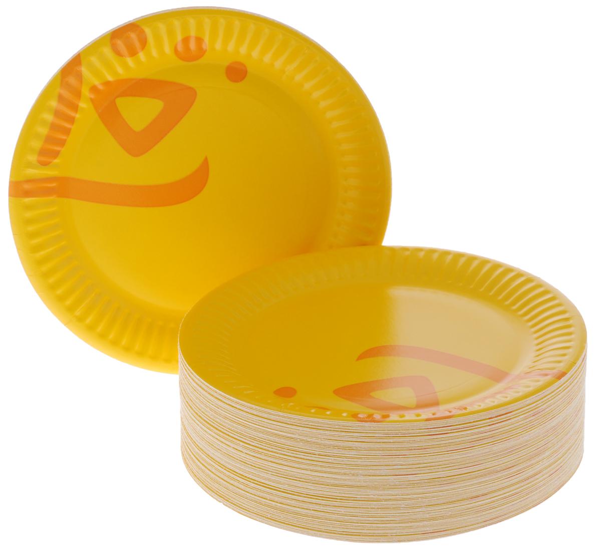 Набор одноразовых тарелок Huhtamaki Whizz, цвет: оранжевый, диаметр 15 см, 100 шт