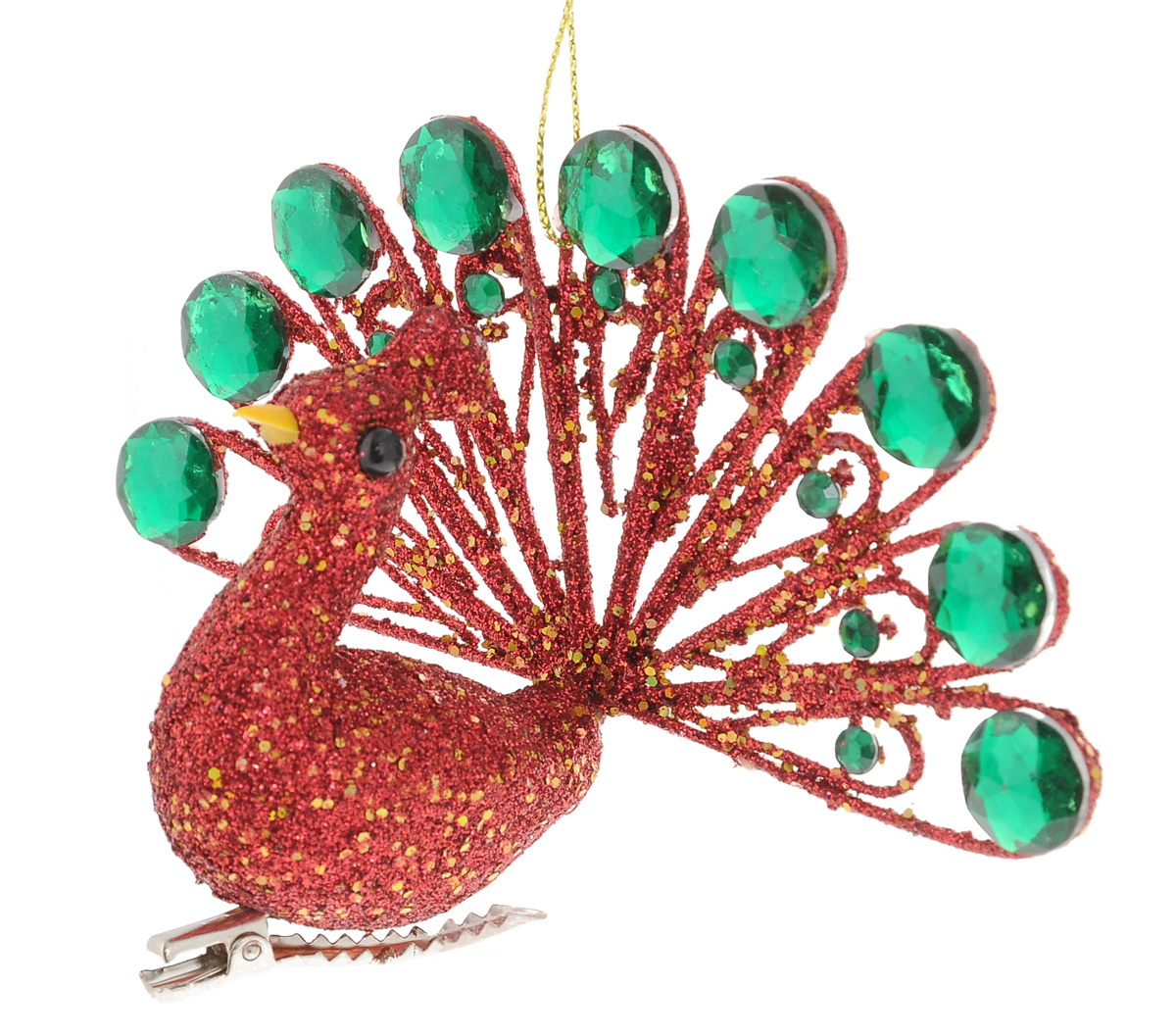 Новогоднее подвесное украшение Winter Wings ПавлинN180054Подвесное украшение Winter Wings Павлин станет отличным новогодним украшением на елку. Изделие выполнено из полирезины в виде павлина, декорированного красными и золотистыми блестками и крупными зелеными камнями. Подвешивается на елку с помощью текстильной петельки, также крепится к веткам с помощью металлической прищепки. Ваша зеленая красавица с таким украшением будет выглядеть стильно и волшебно. Создайте в своем доме по-настоящему сказочную атмосферу.
