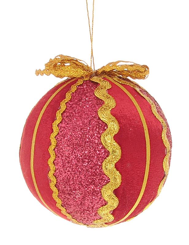 Новогоднее подвесное украшение Winter Wings Шар, цвет: красный, золотистый, диаметр 10 см украшение новогоднее подвесное neon night бантик цвет красный золотой 45 см