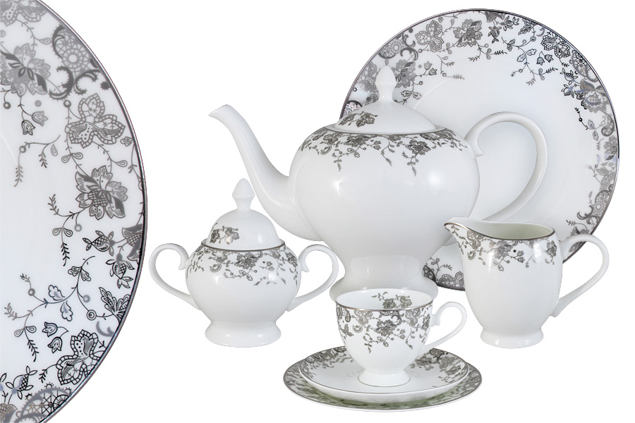 Чайный сервиз 40 предметов на 12 персон  Эстель. E5-14-601/40-AL чайный сервиз emerald розовые цветы из 40 ка предметов e5 hv004011 40 al