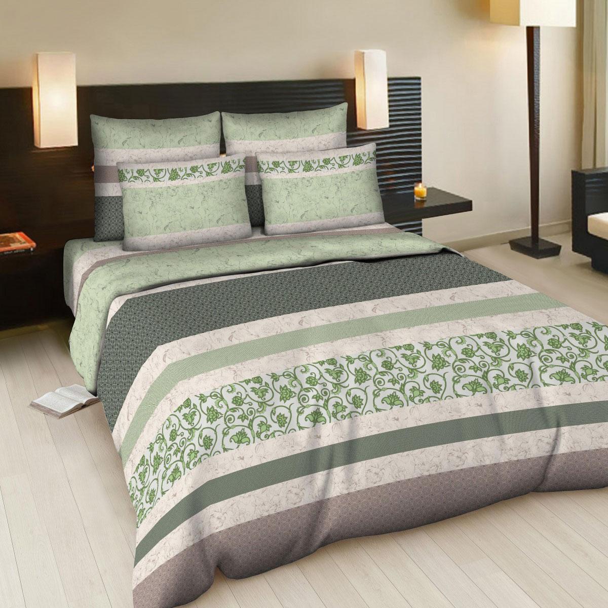 Комплект белья Letto Карнелия, 2-спальный, наволочки 70х70, цвт: серый, светло-зеленый. В93-4